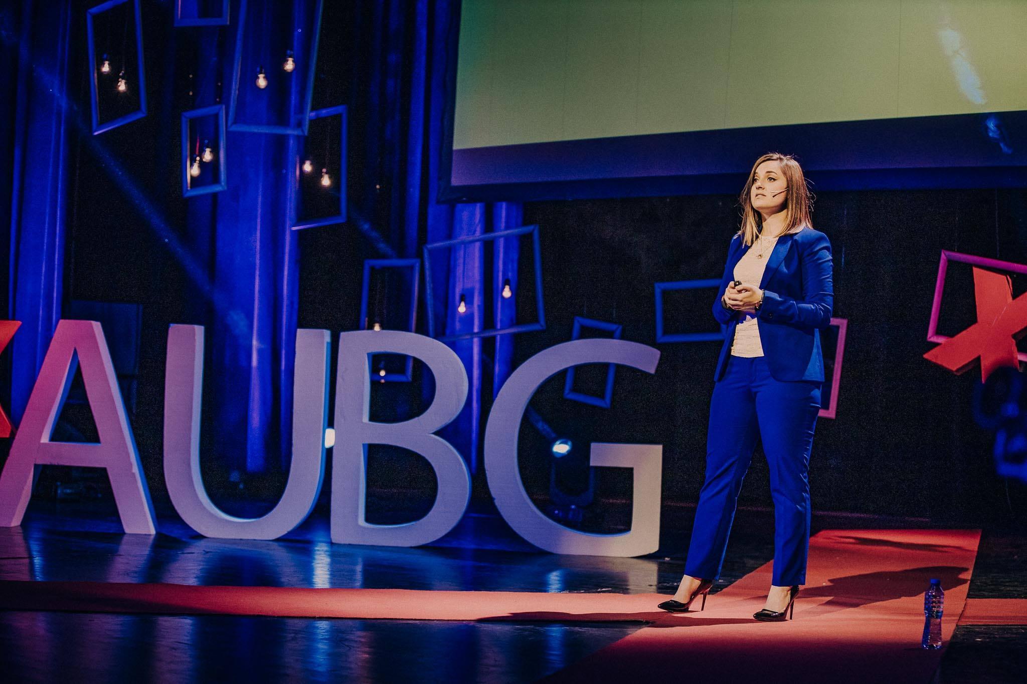 Ina Ivanova speaking in front of TedEx AUBG audience.